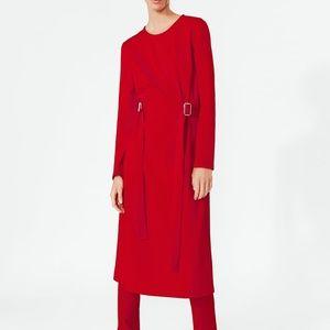 NWT ZARA RED DRESS WITH BUCKLE BELT
